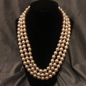 KJL Pearl Deco Clasp Jackie O Necklace